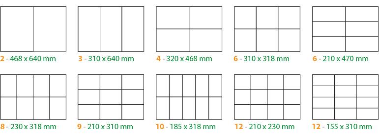 tabela de aproveitamento de papel